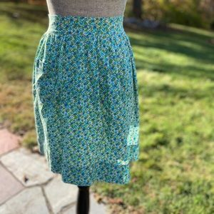 Apron green and blue flower print